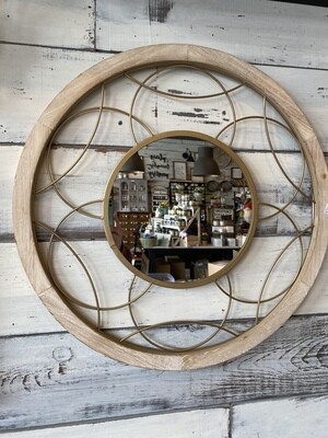 Gold and wood metal mirror