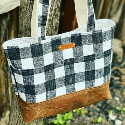 Wool and Wax Tote Bag - Brown with Black and White Check