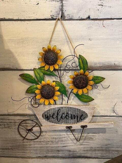 Hanging Sunflower with Welcome Wheelbarrow