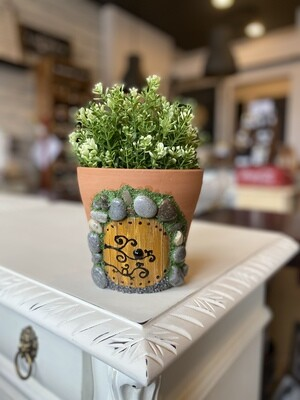 Fairy Door Pot with Faux Plant