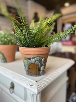 Fairy Door Pot with faux fern