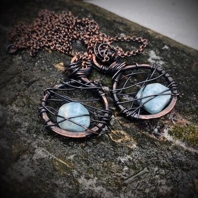 Aquamarine and Blackened Copper (round)