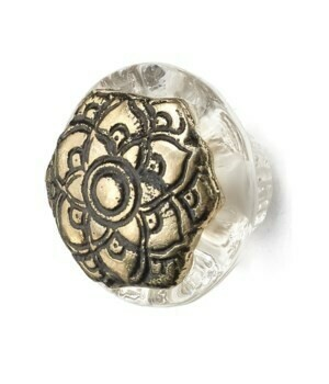 Knob - Etched Iron and Glass