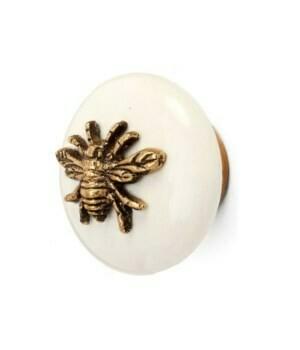 Knob - Ceramic/Brass Bee White/Gold