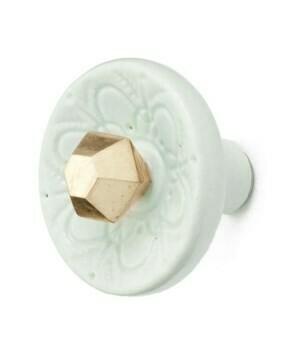 Knob - Ceramic /Iron Bead Aqua and Gold
