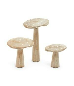 Decor Mushrooms Wood Whitewash - 3 sizes