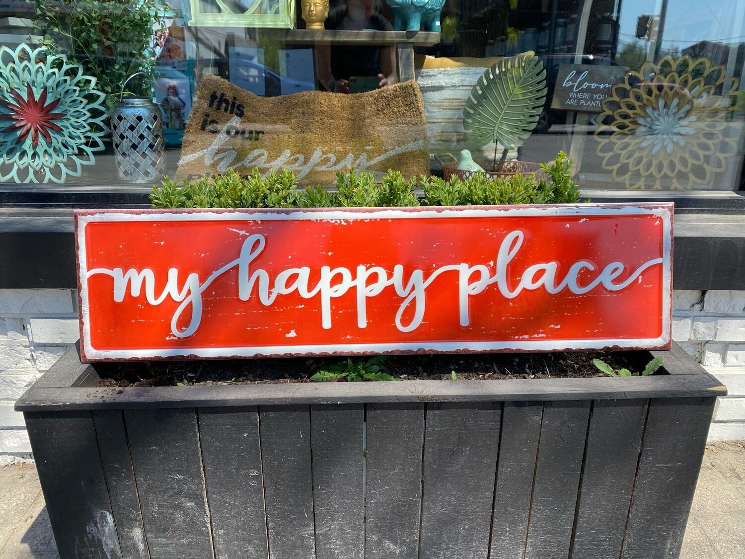 my happy place - red metal plaque
