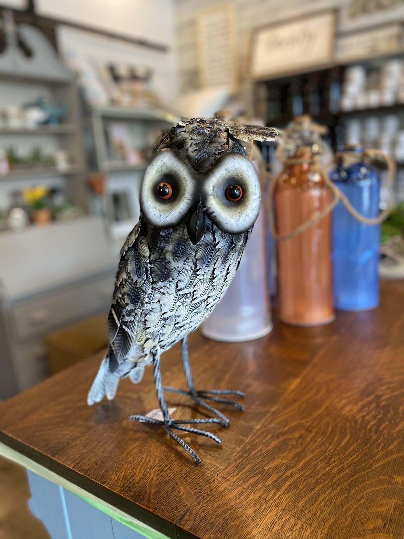Grey Metal Horned Owl