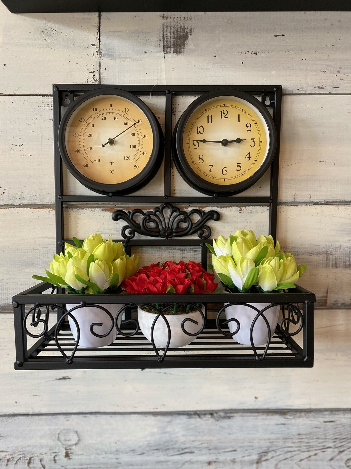 Metal Wall Clock and Thermometer Planter (plants not included)