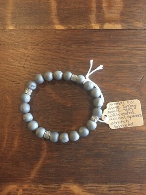 Matte Druzy Agate Grey with extra spacers Stretch Bracelet