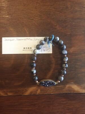 Bracelet - Jasper, Hematite, Druzy
