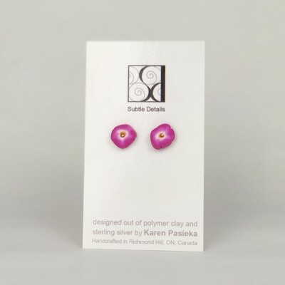 Stud Earrings - Dark Pink
