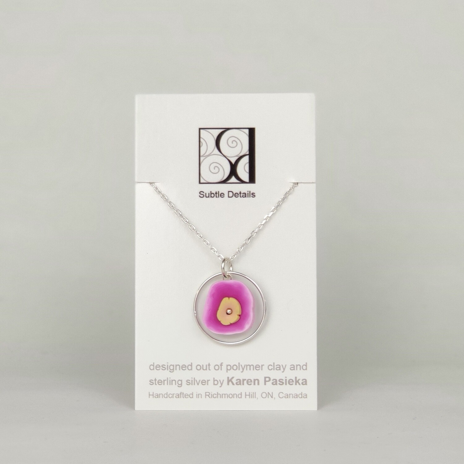 Necklace - Fuschia and Taupe