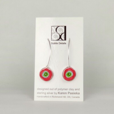 Drop Earrings - Red and Green