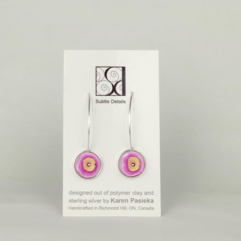 Drop Earrings - Fuschia and Taupe