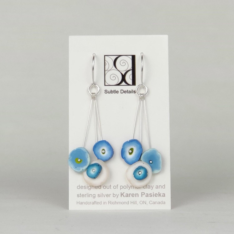 Flower Dot Drop Earrings- Blue and White