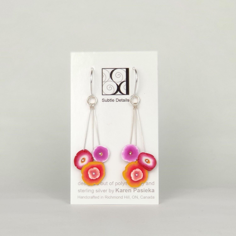 Flower Dot Drop Earrings- Deep Multi Colour