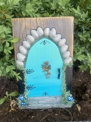 Fairy Door - Teal with Dragon