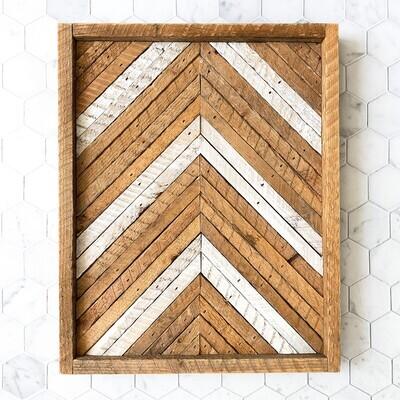 Angled wood art - natural frame
