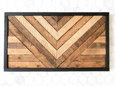 Angled wood art - black frame