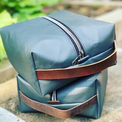 Dopp Kit Toiletry Bag - Vinyl Exterior with leather handle