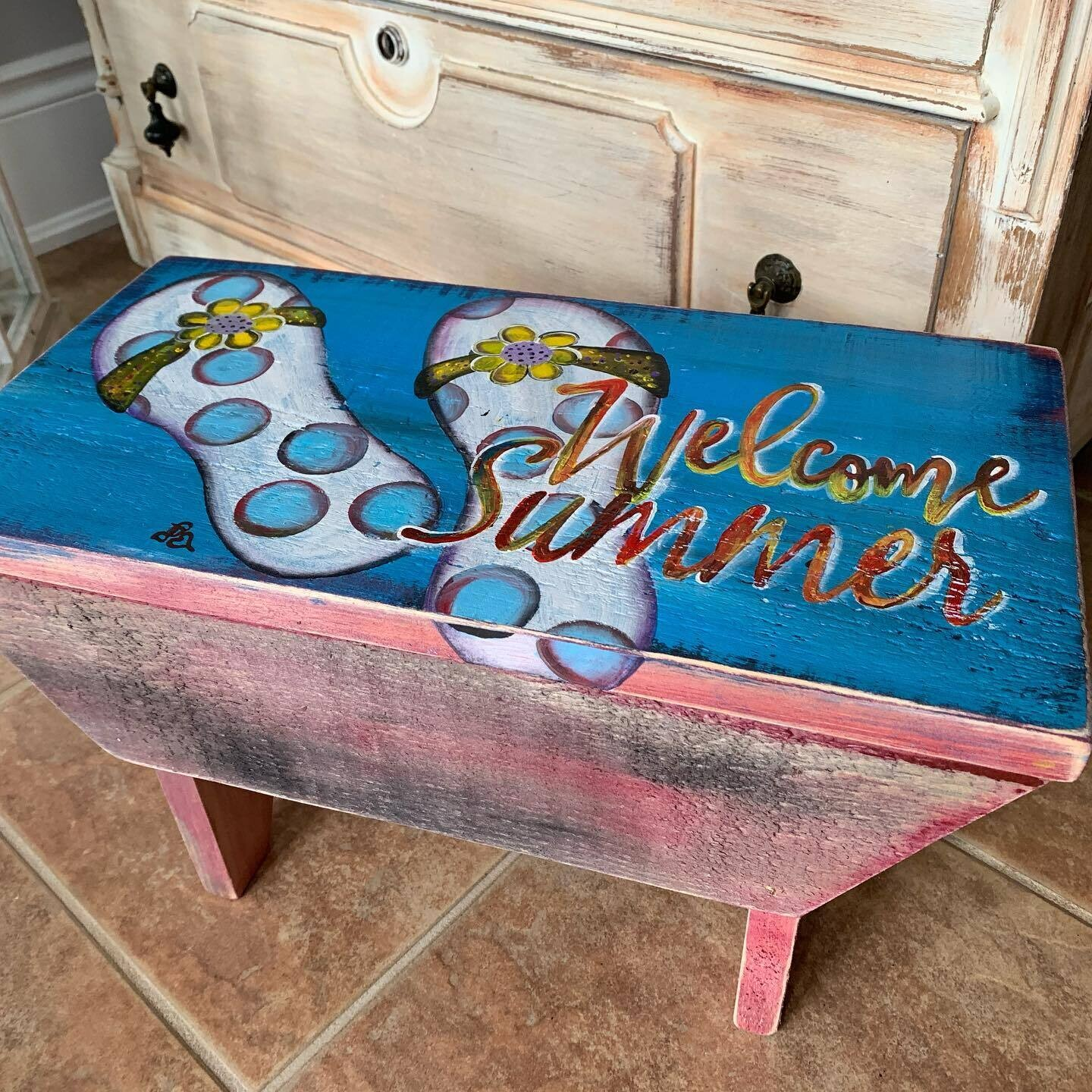 Hand Painted Stool - Welcome Summer
