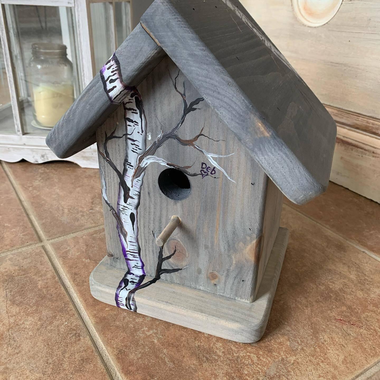 Birch Birdhouse (with post attachment)