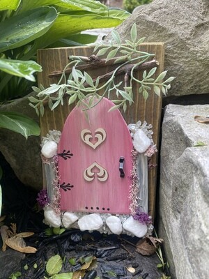 Fairy Door - Pink with Hearts and White Rocks