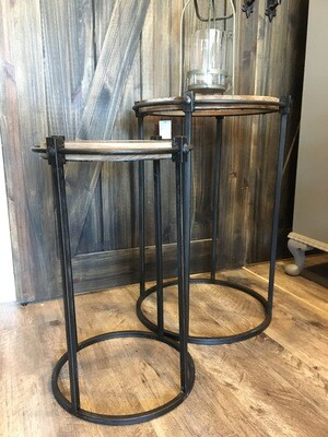 Set of 2 Nesting glass tables with wood frame