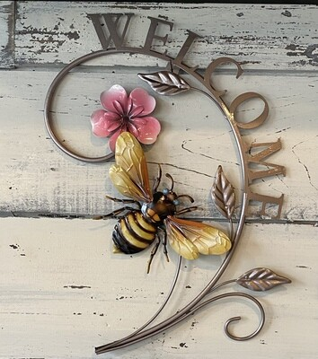 Metal Bee/Flower Welcome