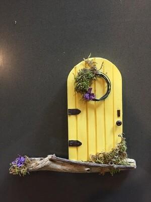 Fairy Door - Yellow with Wreath