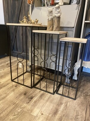3 Piece Metal and Wood Tables