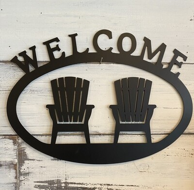 Metal Adirondack chair welcome sign