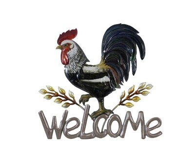 Welcome Metal Rooster wall art