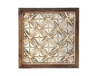 Brown Square floral wall art with mirrored back