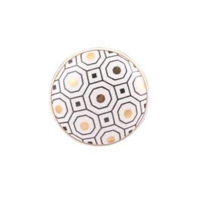 Knob - Ceramic white and gold