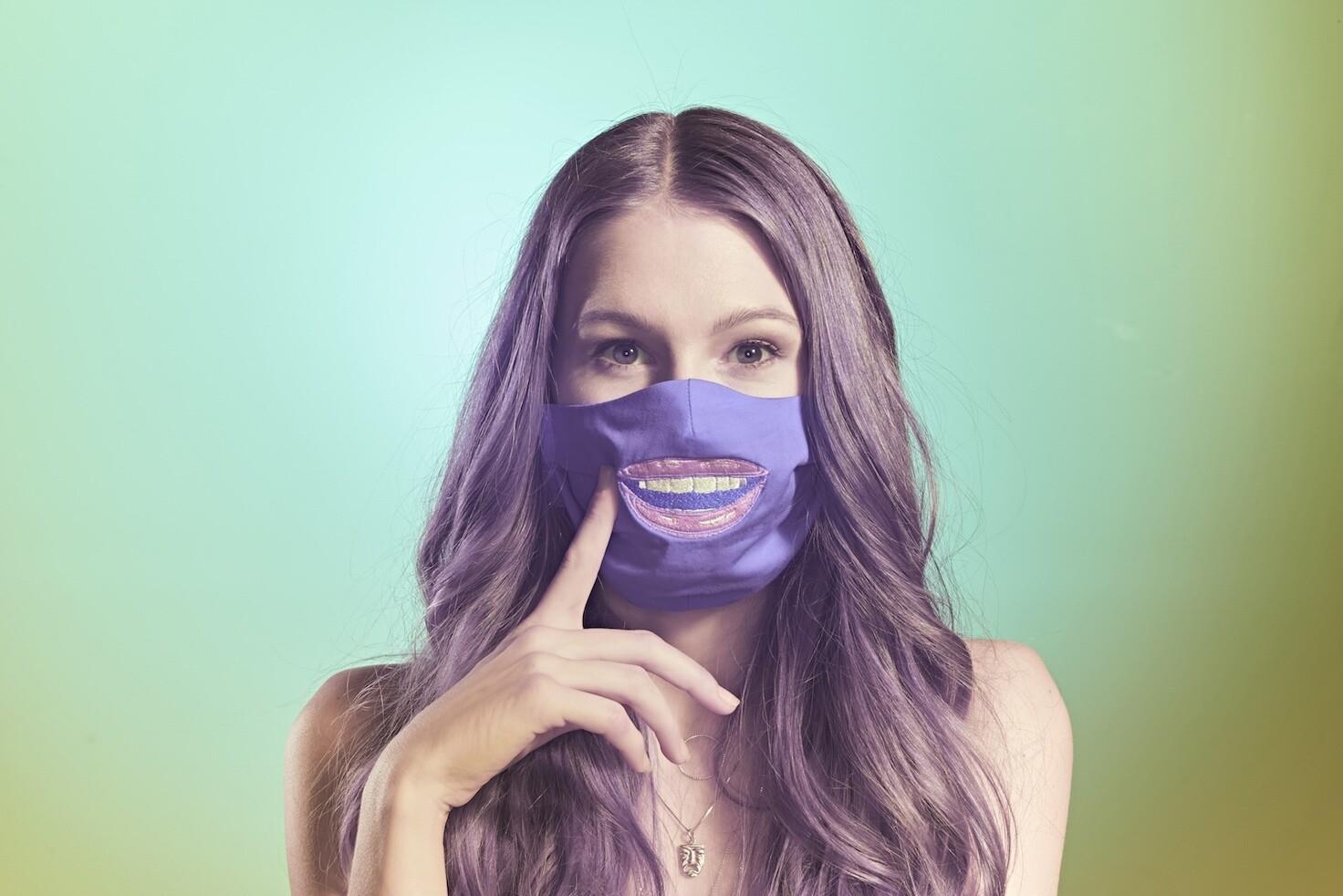 Stoffmaske Lippen - Farbe wählbar