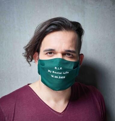 """Maske """"R.I.P My Social Life"""" - Farbe wählbar"""