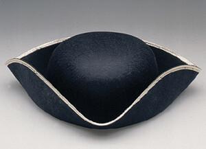 Black Tricorner Hat With Gold Trim