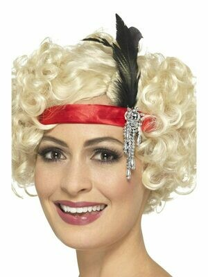 Red Satin Flapper Headpiece