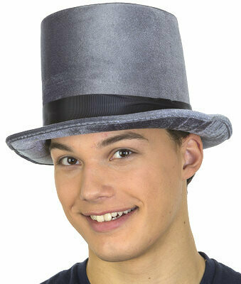 Grey Velvet Victorian Top Hat