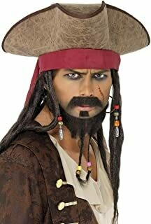 Pirates of Caribbean Hat with dreds Brown