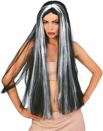 "Grey-Blk Witch Wig 30"""