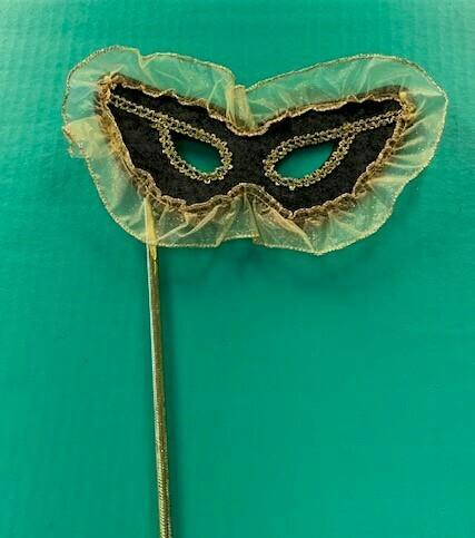 Blk vlvt + gold frill stick mask
