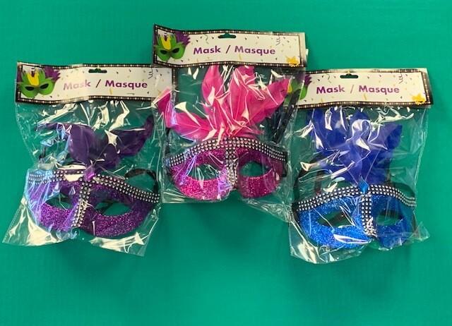 Glitter -Rhinestone-Feathers Asst Mask