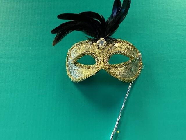 Gold brocade + feathers stick mask