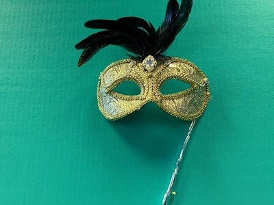 Gold brocade + feathers stick mask