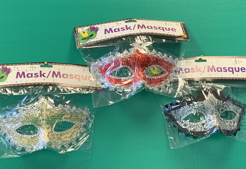 Brocade-lace-rhinestone mask asst