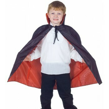 Child Reversible Cape Red-Blk tafetta