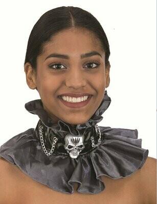 Victoria Choker Collar with Skull Cameo Grey